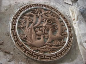 China Hand Carved Stone Dragon And phoenix Relief on sale