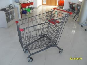 China European Style Metal Grocery Cart 5 Inch Flat Caster With Safety Baby Seat on sale