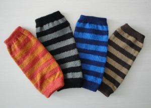 China Custom Stripe Knitted Arm Warmer , Eco-friendly Long Fingerless Gloves For Winter on sale
