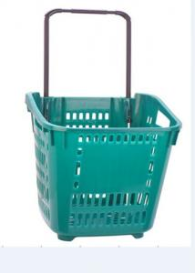 China Large Capacity Shopping Basket With Wheels Plastic Rolling Cart With Handle on sale