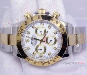 China Rolex Cosmograph Daytona Watch: 2-Tone White Dial Diamond Markers on sale