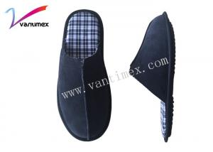China Non Slip Mens House Slippers Cow Suede Material with white or customized on sale