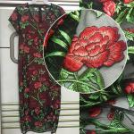 3D Rose Flower Embroidered Mesh Wedding Lace Fabric By The Yard For Women Dress