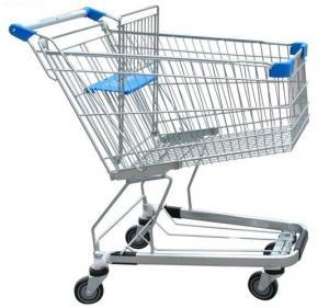 China Germany Style Wire Basket Trolley Supermarket Swivel Wheel PP on sale