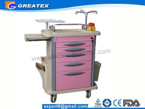 China Plastic Hospital Emergency Cart , Luxurious ABS medical storage trolley on sale