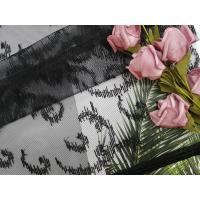 China 100 Yards 125CM Tulle Mesh Crochet Black Embroidered Lace Fabric on sale