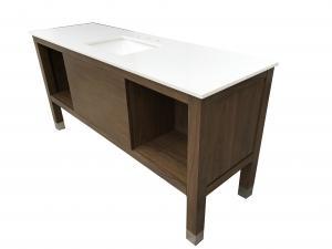 China White quartz top American hotel Custom made oak wood veneer Wooden bathroom vanity base,bathroom cabinet for hotel on sale