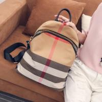 Women Leisure Backpack Style Plaid CanvasBackpack Mommy Bag School Feng Bag