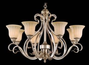 China Elegant champagne color European retro iron art glasses lamp shape Chandeliers on sale