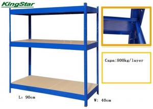 China 3 Tier MDF Floors Boltless Industrial Shelving Zipped And Patterned Beamed on sale