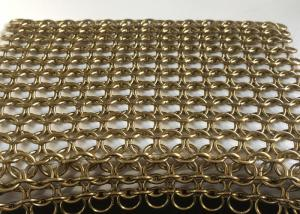China Gold Stainless Steel Ring Decorative Wire Mesh / Chain Link Mesh For Curtain on sale