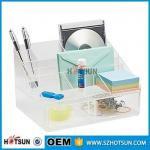 office clear acrylic desk organizer 2 tier 3 tier acrylic pen tray multi compartment