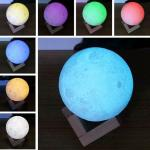 3D Printing Moon Light,Tap Control Rechargeable Moon Lamp with Multi-colors LED Lunar Night Light
