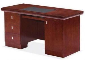 China Commercial Dark Red Wood Office Desk , Pre Finished Colored Particle Board Table on sale