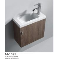 Creative MDF Bathroom Vanity White Washed Oak Finish Solid White Vanity Top Above