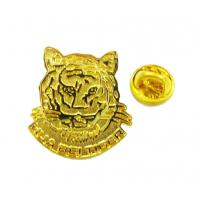 China Tiger head personalized Lapel pins with stainless stee gold finish for promotion & gifts on sale