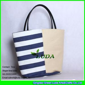 China LUDA women summer plain-stripe straw design beach bag swim tote shoping bag on sale
