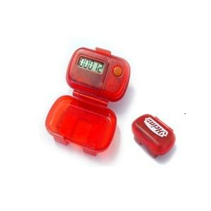 China Red ABS Step Counter Pedometer with 10 steps buffer error correction and 7days memory on sale
