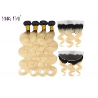 Body Wave Human Hair Weave 613 Ombre Bundles With Frontal Closure Honey Blonde Bundle 2 Tone