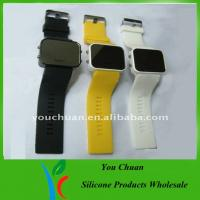 China Mirror Face Colorful Silicone Wrist Quartz Watches, Led Light Up Watch OEM on sale