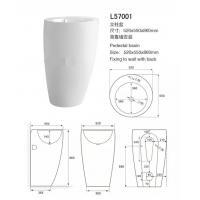 Indoor Solid Surface Sink And Pedestal , Bathroom Pedestal Basin Size 520*550*860mm