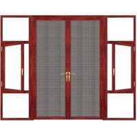 Swing Ventilation Anodized Aluminium Casement Door Rosewood Grain