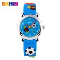 China Soft Football Analog Casual Quartz Wrist Watches Blue For Kids / Boys / Girls on sale