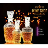 250ml 500ml Whiskey Glass Bottle Wine Container With Glass Lid Square Shape