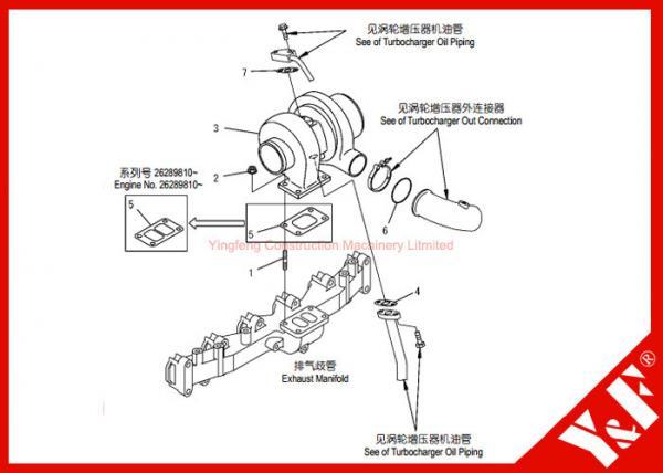 Komatsu Excavator Parts PC200-7 6738-81-8091 Turbocharger 6D102