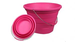 China Virson OEM camping foldable bucket silicone water folding bucket collapsible bucket on sale
