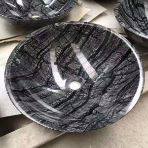 China Cheap Good Quality  Black Wood Vein Marble Wash Basin Natural Stone wash basin on sale