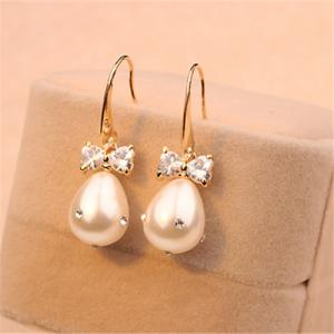 18K Gold Plated Fashion Jewelry Pearl Earrings for Women Cute Adorable Look Bow Earrings White Earrings for Wedding & 18K Gold Plated Fashion Jewelry Pearl Earrings for Women Cute ...