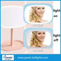 China Small LED Table Portable Makeup Mirror With Lights 4pcs AA Battery Power on sale