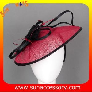 China 0916  fashion red sinamay fascinators hats and caps with feather  ,Fancy Sinamay fascinator  from Sun Accessory on sale