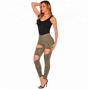 China High Waist Fashion Skinny Jeans Pants Elastic Washed With Smashing Holes on sale