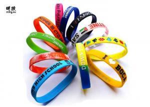 China Variety Color Silicone Custom Wrist Bracelets Rubber Message Bracelets OEM on sale