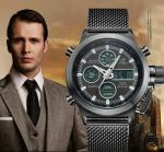 Wholesale OEM Men Stainless Steel Mesh Band Waterproof 30m analog and digital watch dual time zone watches