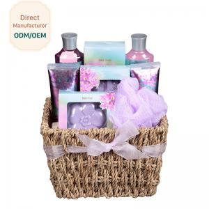 China Purple Relaxing Bath Gift Sets Deep Cleaning Strawberry Fragrance Raw Materials on sale