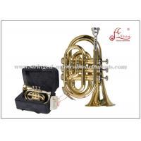 Brass Musical Instruments Golden Lacquered Bb Key Pocket Trumpet / Mini Trumpet