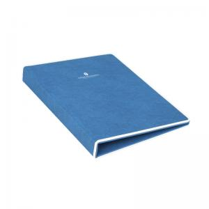 China Customized blue with white trim pu leather service guide folder manufacturer on sale