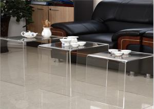 China Modern Design Acrylic Tea Table , Transparency Plexiglass Display Case Three Set Coffee Desk on sale