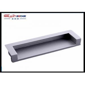China Zinc Alloy Satin Black Hidden Kitchen Cabinet Door Pulls 128mm GLHH2138 Concave Dresser Knobs on sale