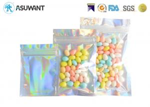 China Holographic Weed Aluminium Foil Mylar Zipper Bags For Candy on sale