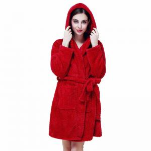 China Pineapple Fleece Red Women Ladies Pyjama Sets Hoody Robe With Pocket on sale