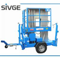 China 10m Hydraulic Trailer Mounted Lift Aluminium Alloy Dual Mast Mobile Aerial Platform on sale