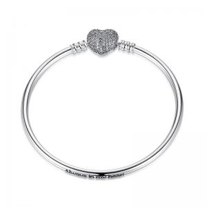 China Moments Sterling Silver Bracelet With Sparkling Heart Clasp Silver Love Heart Chain Snake Bangle DIY on sale