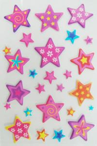 China Soft Colored Star Stickers Transparent Crystal Safe Nontoxic on sale