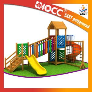 China Rainbow Wooden Playground Equipment Galvanized Steel Pipe CE Approved on sale