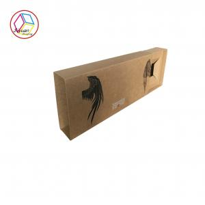 China Rigid Gift Boxes With Window Brown Color Environmental Protection on sale