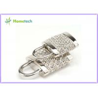 256MB / 512 MB / 1GB Silver Diamonds Gadget Crystal Lock USB Flash Drive Real Capacity